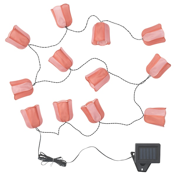 """SOLVINDEN LED string light with 12 lights outdoor solar-powered/tulip pink 9 ' 10 """" 2 lm 7 """" 6 ' 11 """" 0.1 W 16 ' 5 """""""