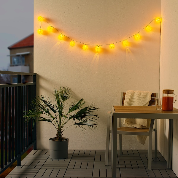 """SOLVINDEN LED string light with 12 lights battery operated/outdoor yellow 4 ' 11 """" 7 """" 6 ' 11 """" 0.1 W 11 ' 10 """""""
