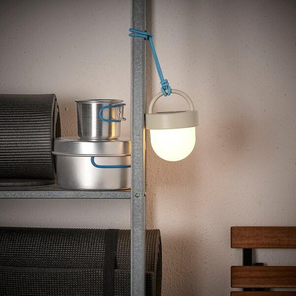 "SOLVINDEN LED solar-powered pendant lamp, gray blue/outdoor globe, 4 """