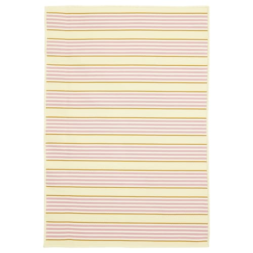 """SOMMAR 2020 rug flatwoven, in/outdoor striped/pink/yellow 3 ' 3 """" 2 ' 4 """" 0 """" 7.53 sq feet 2.62 oz/sq ft"""