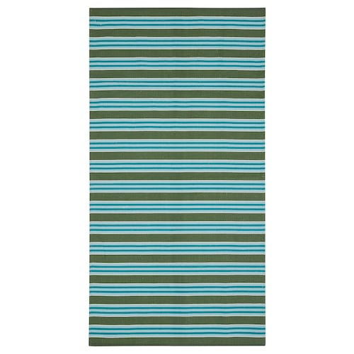 """SOMMAR 2020 rug, flatwoven striped turquoise/green 4 ' 11 """" 2 ' 7 """" 12.92 sq feet 3.20 oz/sq ft"""