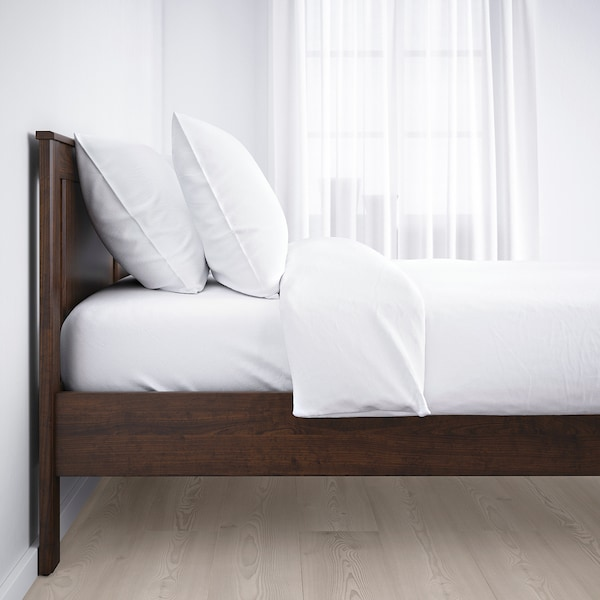"""SONGESAND bed frame brown 81 7/8 """" 65 """" 16 1/8 """" 37 3/8 """" 7 7/8 """" 79 1/2 """" 59 7/8 """""""