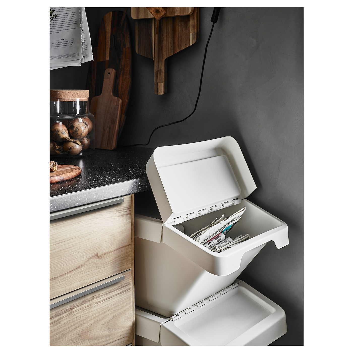 SORTERA Waste sorting bin with lid - white 11 gallon (11 l)