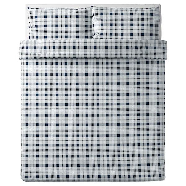 SPIKVALLMO Duvet cover and pillowcase(s), white blue/check, Full/Queen (Double/Queen)