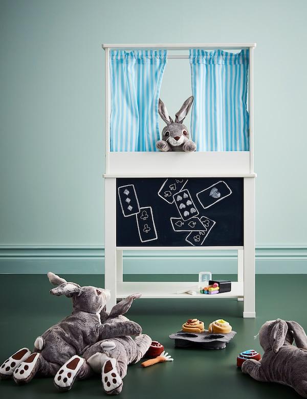"SPISIG Play kitchen with curtains, 21 5/8x14 5/8x38 5/8 """