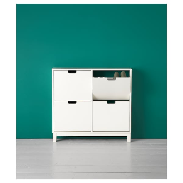 """STÄLL Shoe cabinet with 4 compartments, white, 37 3/4x6 3/4x35 3/8 """""""