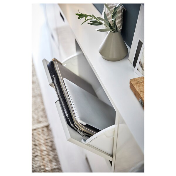 """STÄLL shoe cabinet with 4 compartments white 37 3/4 """" 6 3/4 """" 35 3/8 """""""