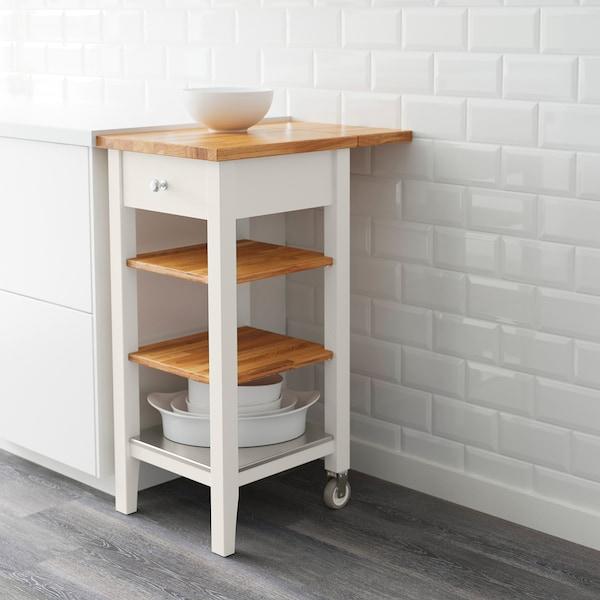 "STENSTORP Kitchen cart, white/oak, 17 3/4x16 7/8x35 3/8 """