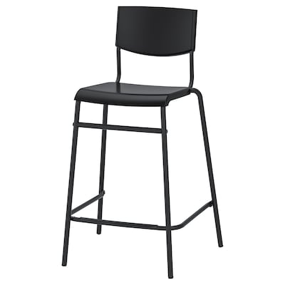 STIG Bar stool with backrest, black/black, 24 3/4 ""
