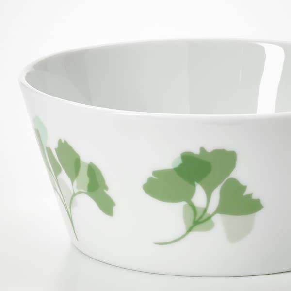 "STILENLIG Bowl, leaf patterned white/green, 5 """