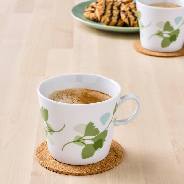 STILENLIG Mug, leaf patterned white/green, 11 oz