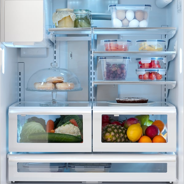 STJÄRNSTATUS French door refrigerator, Stainless steel, 21.7 cu.ft