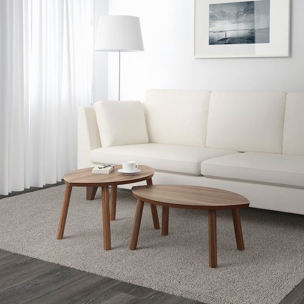 STOCKHOLM Nesting tables, set of 2, walnut veneer