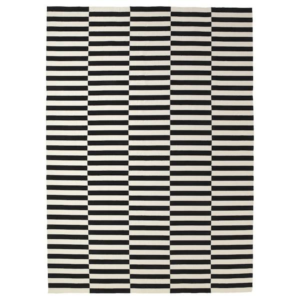 "STOCKHOLM rug, flatwoven handmade/striped black/off-white 11 ' 6 "" 8 ' 2 "" ¼ "" 94.18 sq feet 4 oz/sq ft"