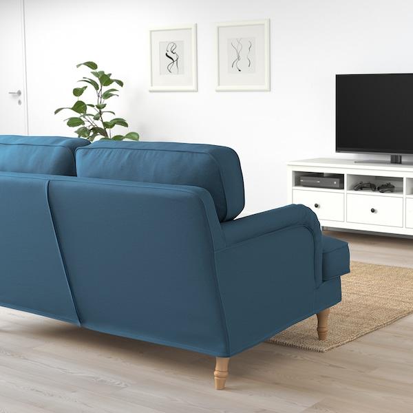 STOCKSUND Loveseat, Ljungen blue/light brown/wood