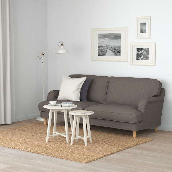 STOCKSUND Sofa, Nolhaga gray-beige/light brown/wood