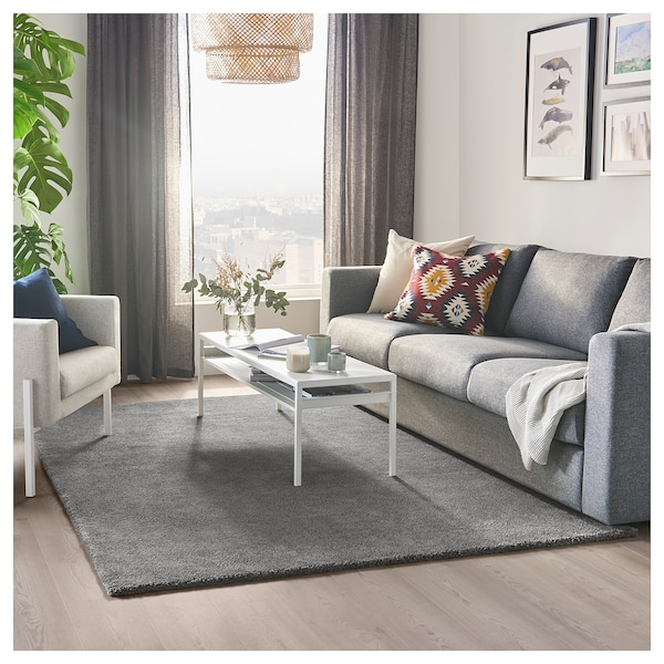 "STOENSE Rug, low pile, medium gray, 5 ' 7 ""x7 ' 10 """
