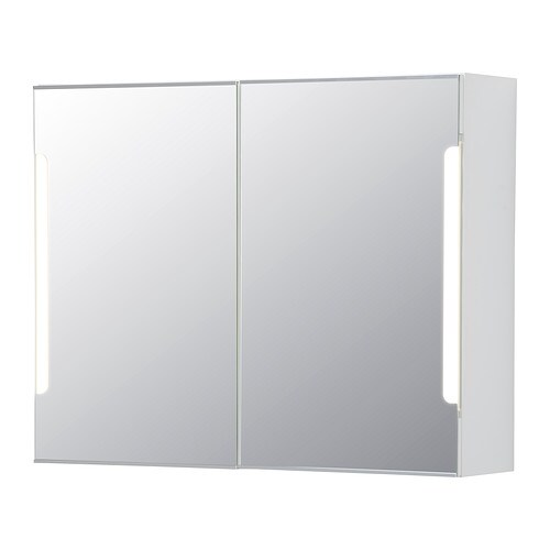 STORJORM Mirror cabinet w/2 doors & light   The LED light source consumes up to 85% less energy and lasts 20 times longer than incandescent bulbs.