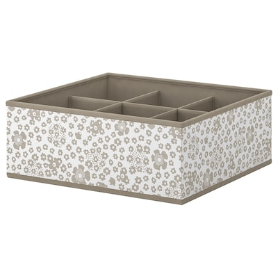 """STORSTABBE Box with compartments, beige, 14 ½x15 ¾x6 """""""