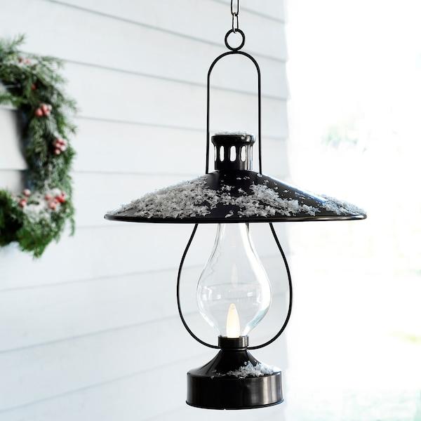 STRÅLA LED lantern, battery operated/outdoor black