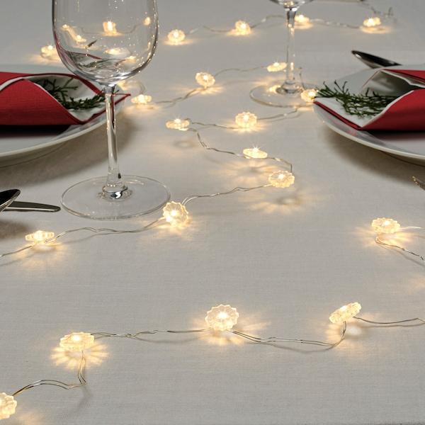 STRÅLA LED string light with 30 lights, battery operated flower/white