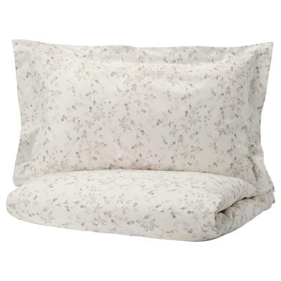 STRANDFRÄNE Duvet cover and pillowcase(s), white/light beige, Full/Queen (Double/Queen)