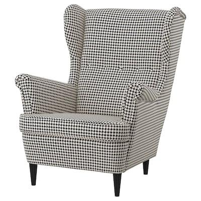 STRANDMON Armchair, Vibberbo black/beige