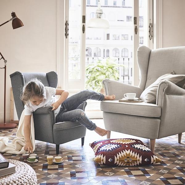 STRANDMON Children's arm chair, Vissle gray