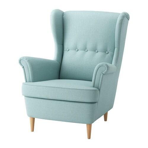 STRANDMON Wing chair - Skiftebo light turquoise - IKEA