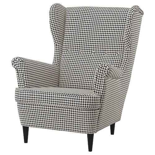 "STRANDMON armchair Vibberbo black/beige 32 1/4 "" 37 3/4 "" 39 3/4 "" 19 1/4 "" 21 1/4 "" 17 3/4 """
