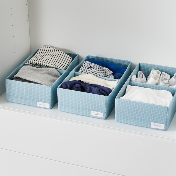 "STUK Box with compartments, blue-gray, 7 ¾x13 ½x4 """