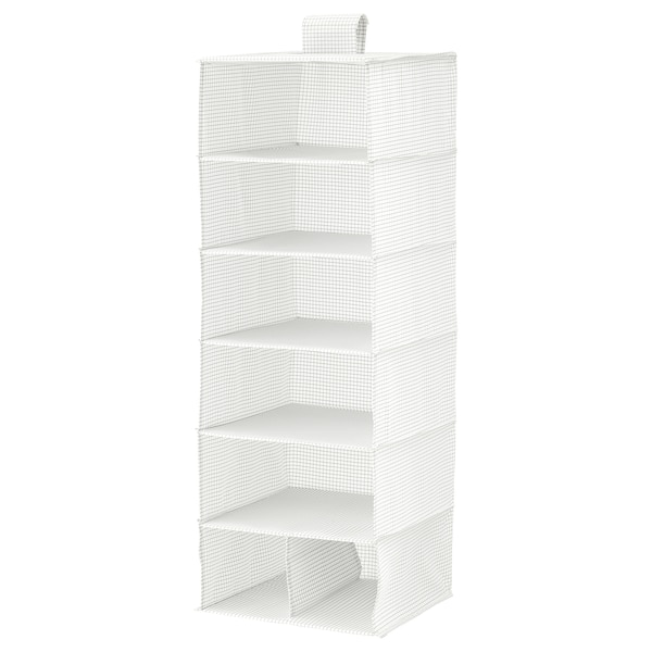 STUK Storage with 7 compartments, white/gray, 11 ¾x11 ¾x35 ½ ""