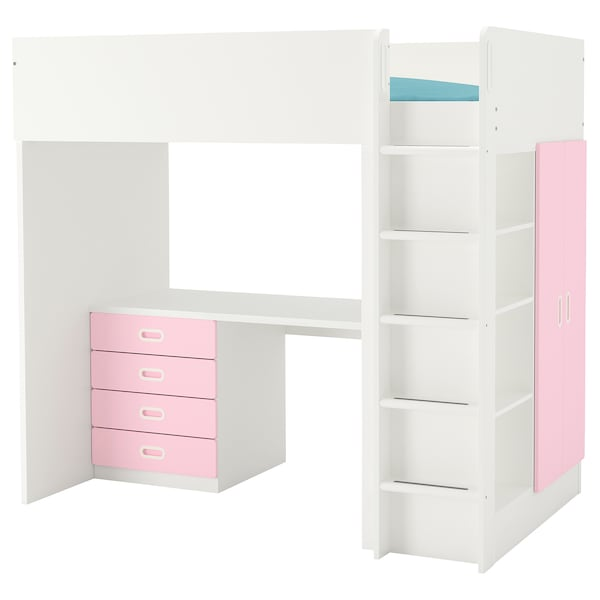 "STUVA / FRITIDS loft bed with 4 drawers/2 doors white/light pink 57 1/8 "" 24 3/8 "" 29 1/8 "" 71 5/8 "" 55 7/8 "" 41 1/2 "" 77 1/2 "" 220 lb 74 3/8 "" 38 "" 8 1/4 """