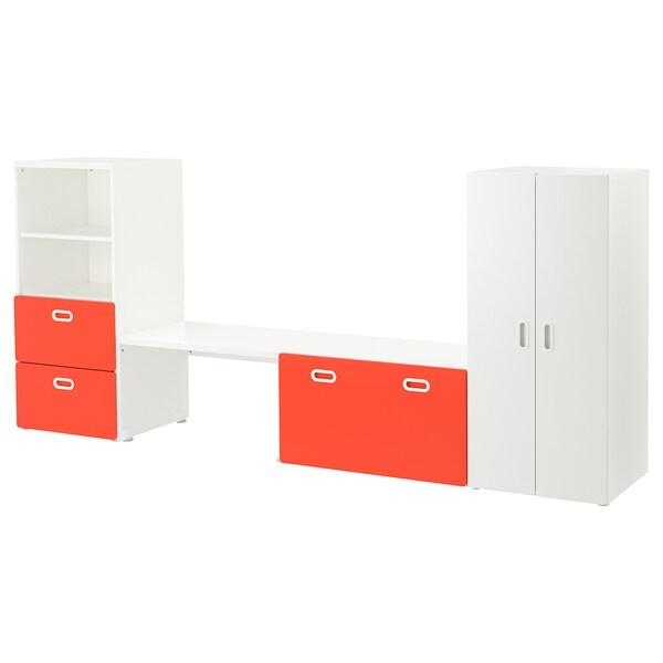 """STUVA / FRITIDS Storage combination, white/red, 118 1/8x19 5/8x50 3/8 """""""