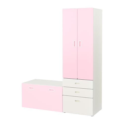 stuva fritids wardrobe with storage bench white light pink ikea. Black Bedroom Furniture Sets. Home Design Ideas