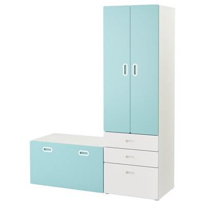 "STUVA / FRITIDS Wardrobe with storage bench, white/light blue, 59x19 5/8x75 5/8 """