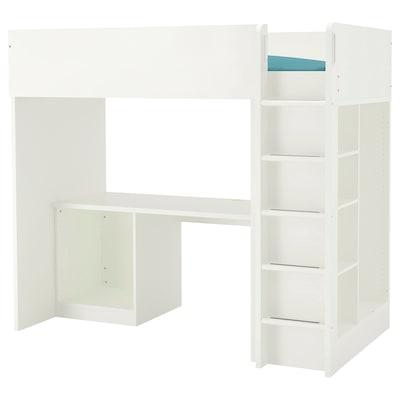 STUVA Loft bed frame, desk and storage, white, Twin