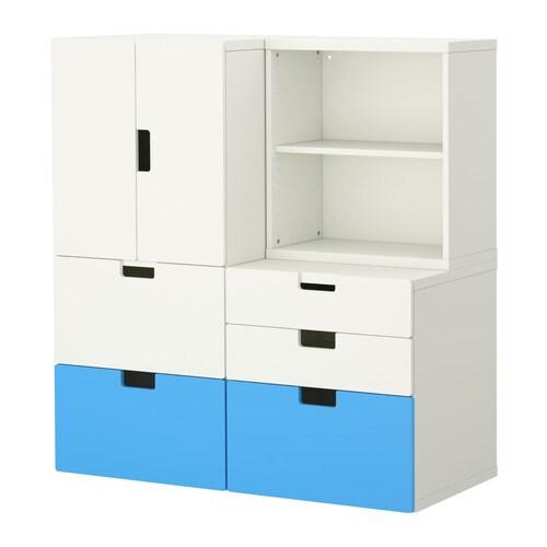 "STUVA Storage combination w doors/drawers, white, multicolor Width: 47 ¼ "" Depth: 19 ¾ "" Height: 50 ½ ""  Width: 120 cm Depth: 50 cm Height: 128 cm"