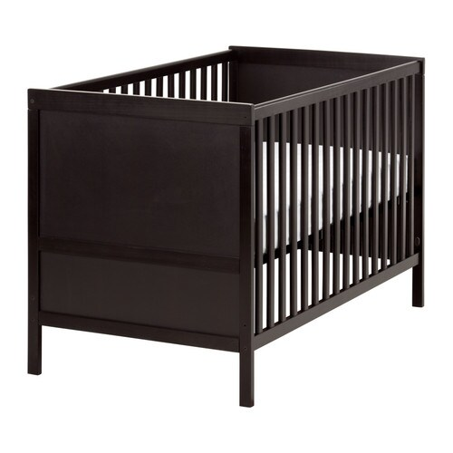 SUNDVIK Crib   The bed base can be placed at two different heights.  Converts into a toddler bed.