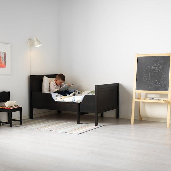 """SUNDVIK Ext bed frame with slatted bed base, black-brown, 38 1/4x74 3/4 """""""