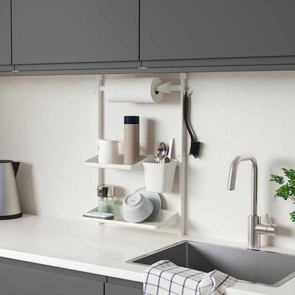 SUNNERSTA Kitchen organizer set, no drill/dish drnr/shlf/kitch roll hldr/cont