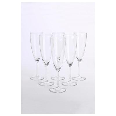 SVALKA Champagne flute, clear glass, 7 oz