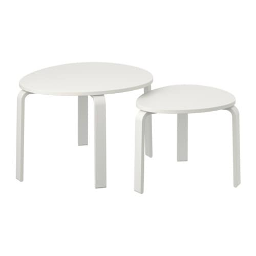 Svalsta nesting tables set of 2 white stain ikea for Table gigogne ikea