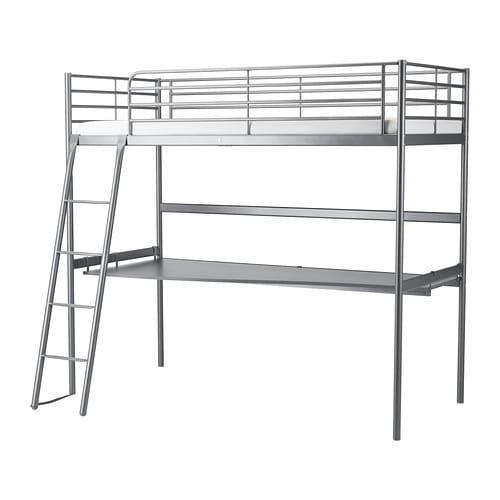 Svarta Loft Bed Frame With Desk Top Ikea