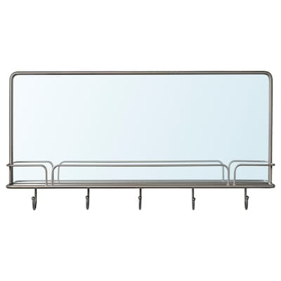 """SYNNERBY Mirror with shelf and hooks, gray, 28x15 """""""