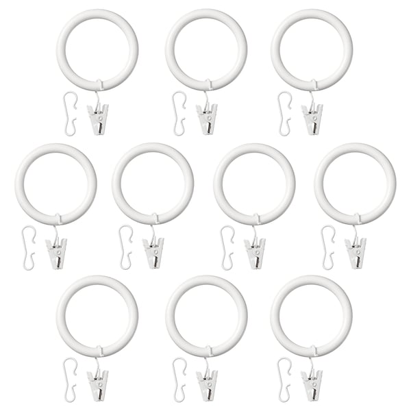 "SYRLIG curtain ring with clip and hook white 1 1/2 "" 7 lb 10 pack"