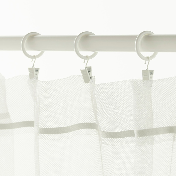 """SYRLIG curtain ring with clip and hook white 1 """" 7 lb 10 pack"""