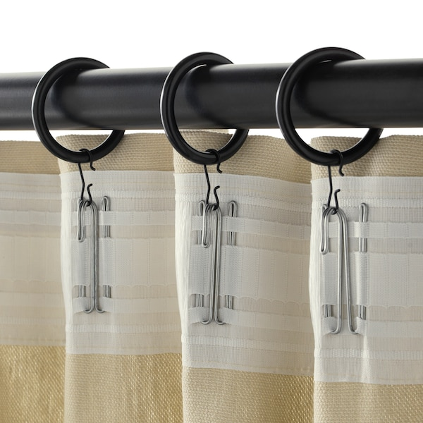 """SYRLIG curtain ring with clip and hook black 1 1/2 """" 7 lb 10 pack"""