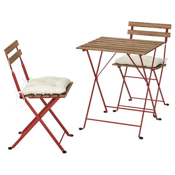 TÄRNÖ Bistro set, outdoor, red/light brown stained/Kuddarna beige