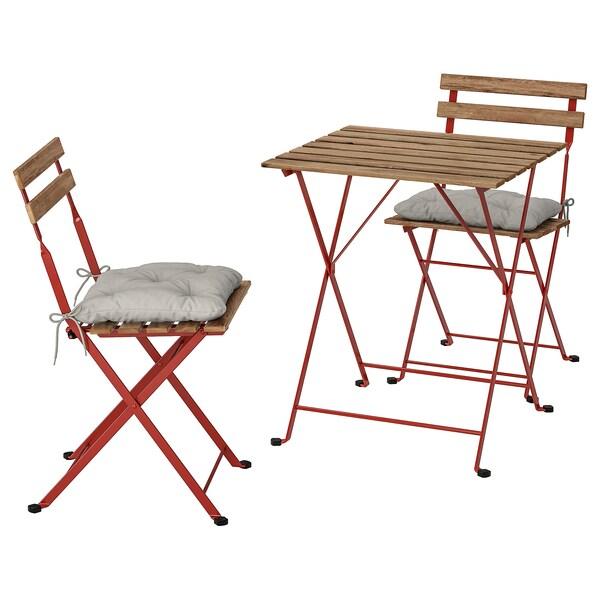 TÄRNÖ Bistro set, outdoor, red/light brown stained/Kuddarna gray